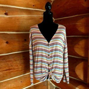 Multi Color Striped Cardigan Size Small